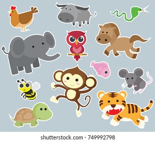 Big set isolated animals. Vector collection funny animals.