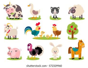 Sheep Rabbit Chicken Bird Dress it Up Country Critters Farm Animal Buttons