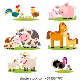 Big set isolated farm birds, animals. Vector collection funny animals, mothers and their children. Cute domestic animals in cartoon style. Pig, rooster, hen, chicken, horse, cow, , turkey, goat