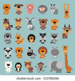 Big set of isolated funny animals: forest, asia, africa, farm, domestic, polar.