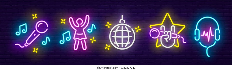 Big set isolated icon neon style. Theme night club, disco and karaoke.  Logo, emblem and label. Line icons colorful. Vector illustration.