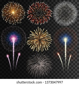 Big set of isolated vector fireworks on transparent background