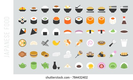 Big set of japanese food and beverage flat icon sushi, yakisoba, takoyaki, onigiri, green tea, sake, dorayaki, mochi, rice ball, miso soup, tofu, oden, dango, taiyaki, tempura, ramen, rice bowl, gyoza