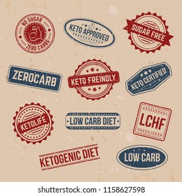 Big set of keto stamps and labels isolated on craft background with grunge effect. LCHF, Low carb, Zerocarb, Keto approved, no sugar zero carbs, sugar free, low carb diet, ketogenic diet stamps.