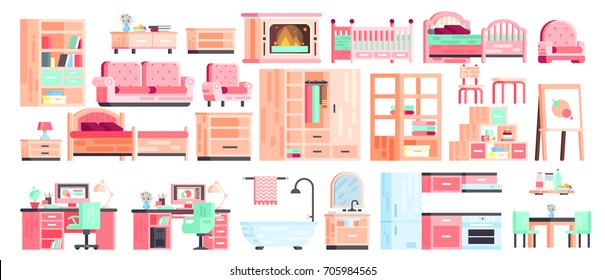Big set kit collection vector isolated icons of furniture for bathroom interior, children's room, kitchen, office, bedroom, gaming, fireplace with sofa and armchair, in flat style on white background