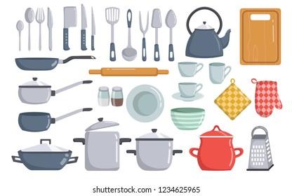 Big set of kitchen dishes and tools vector elements cartoon