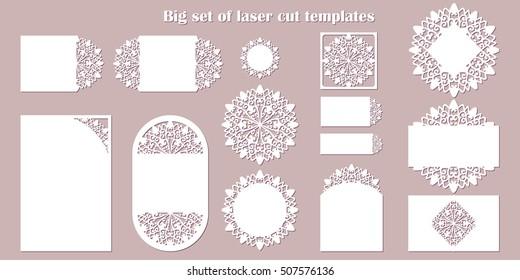 Big Set Laser Cut Template Wedding Stock Vector (Royalty Free ...