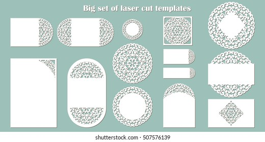 Big set of laser cut template. Wedding collection: cards, invitation, menu etc. Openwork lace templates for laser cutting, paper cut and wood carving.