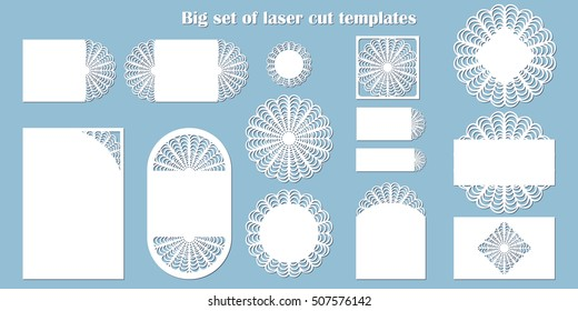 big set laser cut template wedding stock vector royalty free