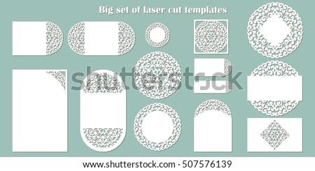 big set of laser cut template wedding collection cards invitation menu etc - Free Laser Cutter Templates