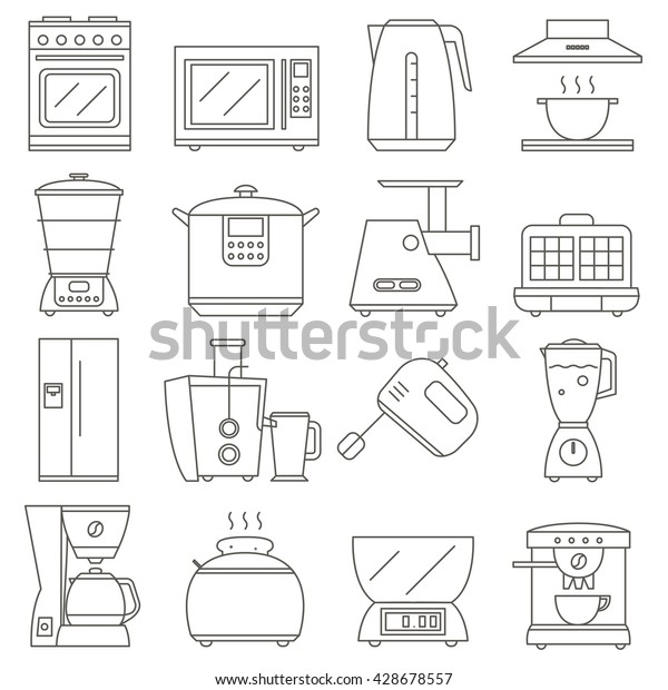 kitchen electrical design big set line icon electrical kitchen stock vector  royalty free  big set line icon electrical kitchen