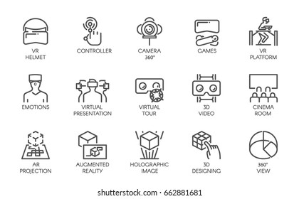 Big set of line icons of augmented reality digital AR technology future. 15 vector labels isolated on a white background. Symbols of virtual modeling, simulation, 3d video, presentation and other