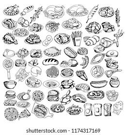 Big set line icons of varied food - meat, fish, soups, snacks, design elements for restaurant menu, cafe, hand drawing black and white sketches, vector illustration
