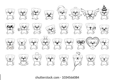 big set of little dogs with different emotions and objects painted with black lines on a white background. american bulldog puppy.