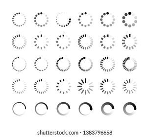 Big set Loading icon. Loading. Load. Progress bar for upload download round process. Website loading icon. Vector illustration - Shutterstock ID 1383796658