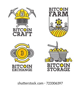 Big set logo, emblem, label. Theme Bitcoin. Vector illustration.