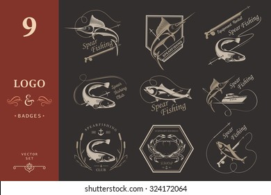 Big set of logos, badges, stickers and prints spearfishing on isolated background. Premium vector label for spearfishing and underwater swimming - Stock Vector