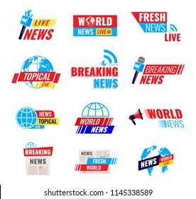 Big set of logos, journalist logotypes, fresh world live news broadcast, tropical news, social media emblems, digital online internet and television media content, icons. Vector illustration isolated.