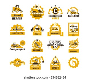 Big set of logos on the theme of construction. Building machinery, transport, professional equipment and tools. Asphalt processing works. Excavator, tractor, truck, crane. Isolated on background