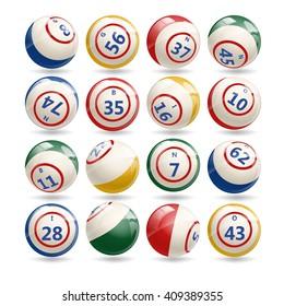 Big Set of Lottery Bingo Billiard Balls with numbers. Bingo colorful balls set isolated on white background. Bingo games. Bingo night. Bingo balls.