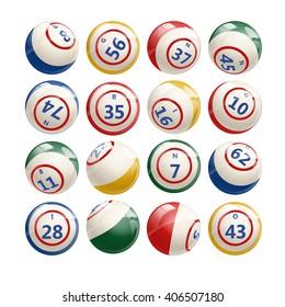 Big Set of Lottery Bingo Keno Billiard Balls. Vector illustration of Bingo Balls isolated on white. Bingo or lottery balls with numbers. Colorful Bingo illustration.