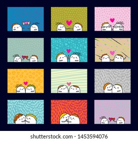 Big set love you hand drawn vector illustration in cartoon style with happy couple, textured background, vibrant colors, valentine's day card romantic