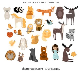 Big set of magic cartoon forest animals and girl. Cute handdrawn kids clip art collection of wizard. Vector illustration.