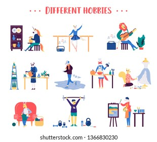 Big set of male and female different hobbies, pastime. Talented animal characters practice sport, dance, painting, play music, do cooking, handiwork. Vector leisure activities clip art on white.