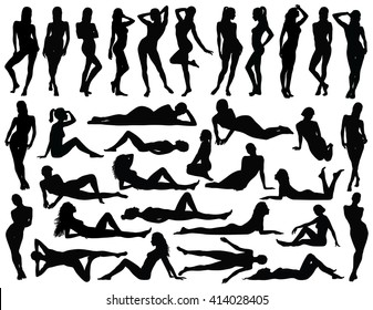 Big set of many black vector silhouettes of women in different standing, lying and sitting poses. Black profile of slim woman body isolated on white background. Beautiful sexy girl vector silhouette.