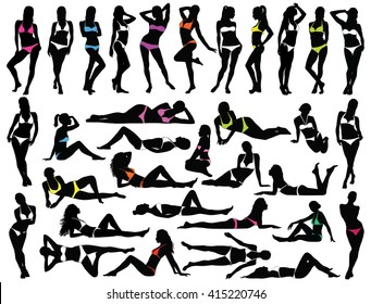 Big set of many black vector silhouettes of beautiful women in white and colored bikini dress. Silhouettes of bikini girls in standing, lying and sitting positions. Vector profile of slim woman body.