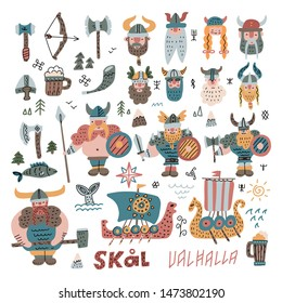 Big Set with many hand drawn flat viking faces, equipment and ships in cartoon style. Funny vector illustration for kids. Viking boat Norway drakkar doodle icons with hand Scandinavian lettering