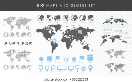 Big set of maps and globes. Pins collection. Different effects. Transparent Vector illustration.