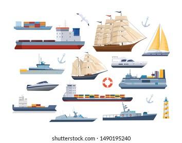 Big set of maritime ships at sea, shipping boats, sail boat, ocean ships, yacht sailing boats, cargo ships. Transportation sailboat, military warship. Water transport boat, vessel vector illustration