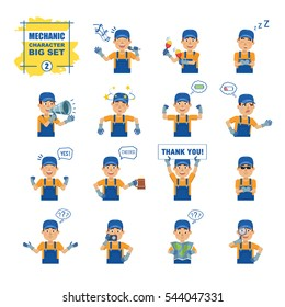Big set of mechanic, courier, workman emoticons showing different actions, gestures, emotions. Cheerful mechanic singing, sleeping, holding banner and doing other actions. Simple vector illustration
