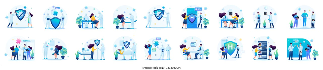 Big Set of medical concepts for creating illustrations and landing pages. Transmission of the virus, testing for the virus.