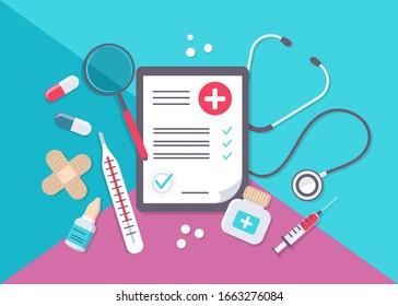 Big set of medical equipment and pharmacy. Pharmacy square frame with pills, drugs, medical bottles. Pharmacy vector flat illustration. Banner in medicine and healthcare. vector illustration