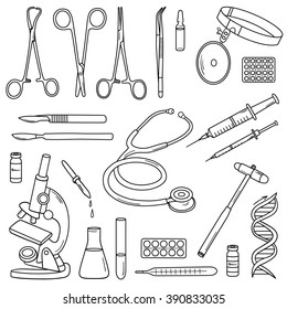 Big set of medical instruments and medical equipment. Hand drawn icons collection, medical set. Vector background with sketch objects. Black and white elements. Illustration with medical tools