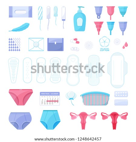 0f9db78f3728 Big Set Menstruation Theme Different Sanitary Stock Vector (Royalty ...