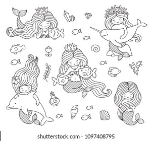 Big set of mermaids with different animals: dolphin, narwhal, fish. Under the sea. Vector outline illustrations for coloring book.