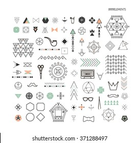 Big Set of minimal geometric linear shapes. Business signs, labels, trendy hipster icons and logotypes. Collection of different geometric elements, business icons and logotypes. Isolated.