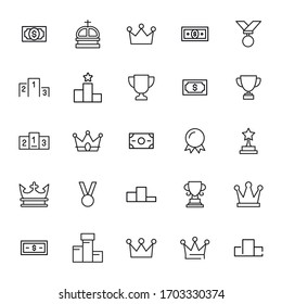 Big set of motivation line icons. Vector illustration isolated on a white background. Premium quality symbols. Stroke vector icons for concept or web graphics. Simple thin line signs.