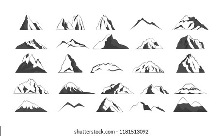Big set of mountain silhouette. Collection of gray mountain shapes for logo. High hills. Isolated vector illustration