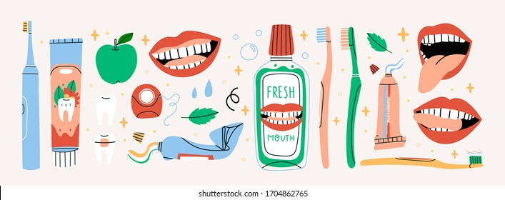 Big set of mouth Cleaning tools. Apple, mint, smiling teeth. Various Toothbrushes, toothpaste, dental floss, mouthwash. Dental hygiene, Oral care concept. Hand drawn Vector isolated icons