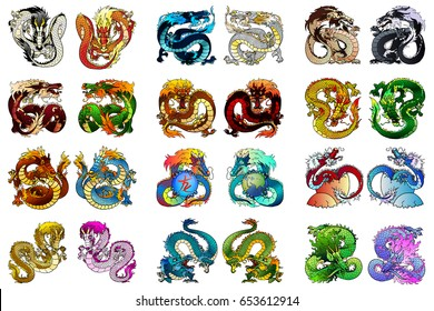 Big set of multi-colored Asian dragons of elements of fire, metal, earth, tree and water. Animals of the Chinese horoscope separately on white. Full-color cartoon vector illustration.