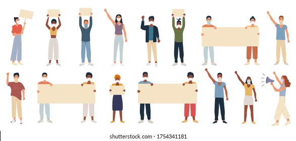 Big set of multicultural people protesting wearing respiratory mask and placard banner, hand fist raised up. Protest of mix race male and female. Manifestation during pandemia coronavirus. Vector flat