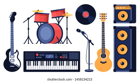 Big set of musical instruments for rock music tools element - electric guitar, synthesizer, drum set in red, microphone, speaker system. Concert equipment vector retro flat style on white background.