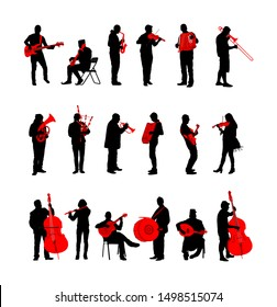 Big set of musician with music instrument silhouette. Guitar player, contrabass, violin, accordion, flutist, saxophone, bagpiper, clarinet, double bass, trumpet, bugler, drummer, cello, cellist artist
