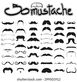 Big set of mustache vector on white background set 2 , hipster moustache collection