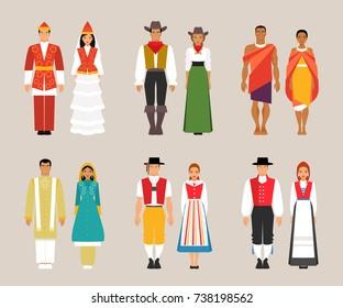 Big set of national costumes. Kyrgyz, American and Kenyan, Pakistani, Swiss and Norwegian traditional dresses