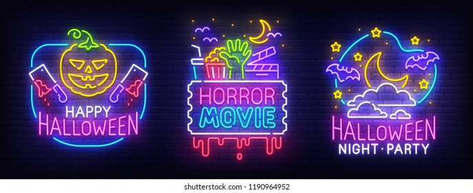 Big set neon billboard, theme Happy Halloween. Greeting card Halloween. Horror Movie, Night sky, moon, bat and angry Pumpkin. Neon sign, isolated sticker, bright signboard, light banner.